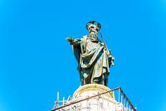 Column of marcus aurelius at piazza colonna in rome, italy. Stock Photos
