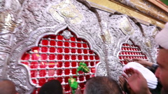 Visitors around the tomb of Imam Hussein, Karbala, Iraq 781 Stock Footage