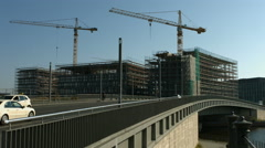 Large construction site in Berlin Stock Footage