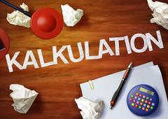 kalkulation desktop memo calculator office think organize - stock illustration