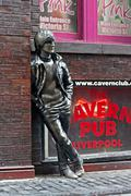 john lennon statue in mathew street, liverpool, uk - stock photo