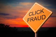 Click Fraud on Warning Road Sign - stock illustration