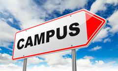 Campus on Red Road Sign. - stock illustration