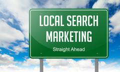 Local Search Marketing on Green Highway Signpost. Stock Illustration