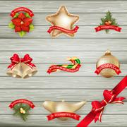 Christmas decor Objects collection. EPS 10 Stock Illustration