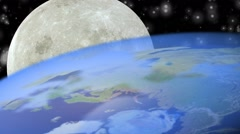 Planet Earth and Moon close up. Image Moon has been found thanks to NASA. Stock Footage