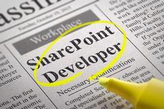 Share Point Developer Vacancy in Newspaper. Stock Illustration