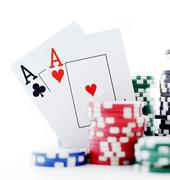 two aces and poker chips - stock photo
