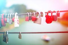 Lock in hart shape - stock photo