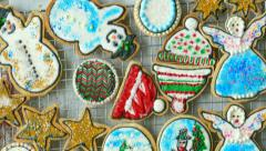 Three Big Trays of Fresh-Baked Christmas Cookies, 4K Stock Footage