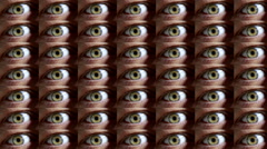 Wall of  paranoid human eyes Stock Footage