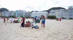 The Copacabana Beach in Rio de Janeiro, Brazil Stock Footage