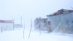 shelter from the storm, old fishing outpost shacks and branches swaying durin - stock footage