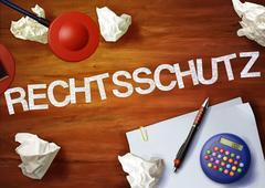 Rechtsschutz desktop memo calculator office think organize Stock Illustration