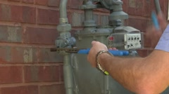 Utility worker gas meter 05 Arkistovideo