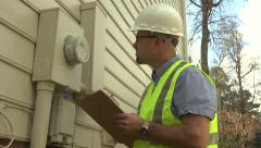 utility worker electrical meter 01 - stock footage