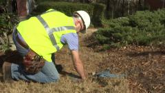 utility worker water main 01 - stock footage