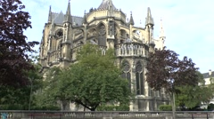 The Cathedrale Notre Dame, Reims, Champagne-Ardenne, France. Stock Footage
