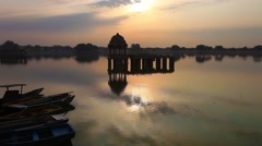 Sun set lake Beauty of Rajasthan - Gadsisar Lake,  Jaisalmer Stock Footage