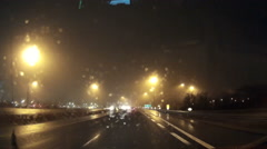 POV driving at night in the dark low with low visibility in rain. Stock Footage
