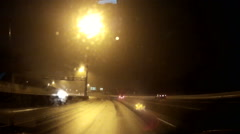 POV driving at night in the dark low with low visibility in rain. - stock footage