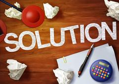 Solution desktop memo calculator office think organize Stock Illustration