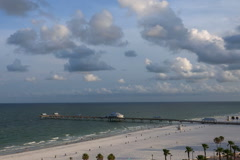 Stock Video Footage of Looking down at Clearwater beach at sunrise
