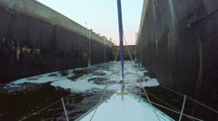 Canal lock filling with dirty water. Boats, transport, industry Stock Footage