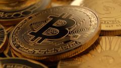 Bitcoins flyover 25P Stock Footage