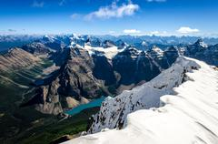 mountains range view from mt temple with moraine lake, canada - stock photo