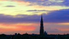Brussels cityscape hyperlapse - edited version - stock footage