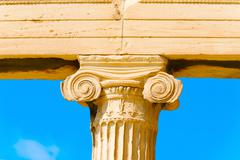 Column close up acropolis, greece. Stock Photos