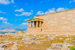 Erechtheion temple on acropolis hill, athens greece. Stock Photos