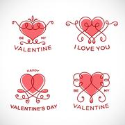 Stock Illustration of Graceful Floral Valentine Line Style Vector Heart Set