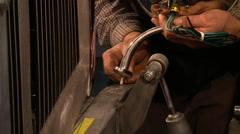 Hot rod headlight mounting Stock Footage