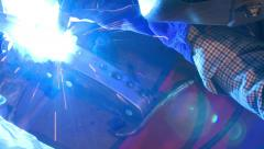 welding hot rod frame custom - stock footage