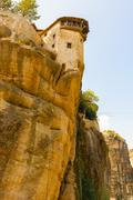 the holy monastery of great meteoron in  greece - stock photo