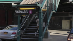 Views of Court Square Station in Queens (1 of 6) Stock Footage