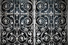grating with floral patterns - stock photo