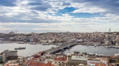 Istanbul panoramic skyline on a sunny day Stock Footage