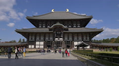 Great Buddha Hall at Todaiji Temple in Nara, Japan Stock Footage
