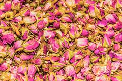 dried rosebuds on sale in bazaar of istanbul - stock photo