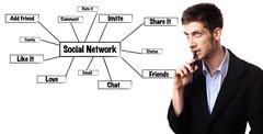 Man analysing social network schema on the whiteboard Stock Photos