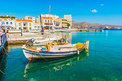 greek boat at agios nikolaos port - stock photo