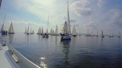 Profound calm at the sea, motionless sailing yachts on water Stock Footage
