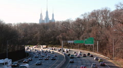 Morman Temple and Beltway Stock Footage