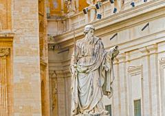Statue of apostle paul in front of the basilica of st. peter Stock Photos