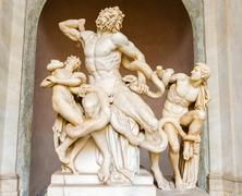 laocoon and his sons statue in vatican museum - stock photo