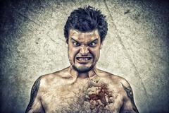 Sinister face with cracked skin, and ugly face - stock photo