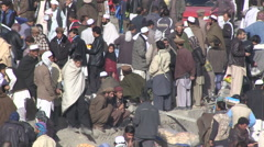 Crowded Kabul street - stock footage